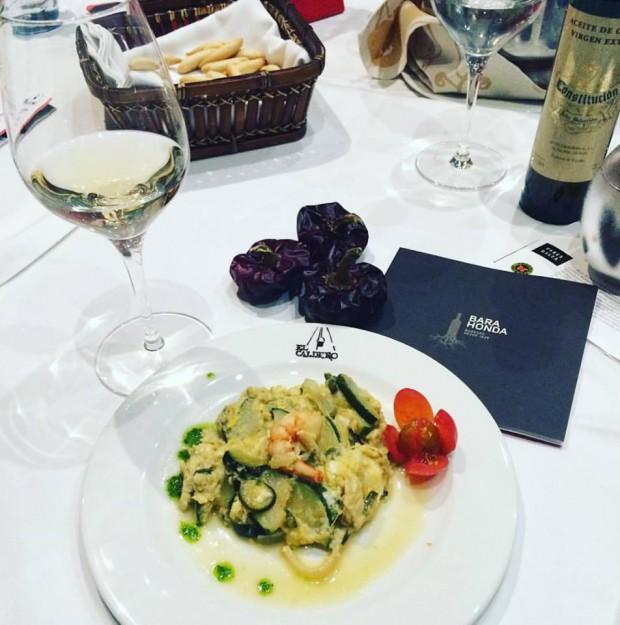 gastronomia de Múrcia - Zaragollo con gamba y el vino Sara Valero de Barahonda