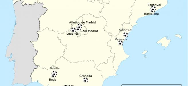 Em que regiões estão localizados os clubes da primeira divisão da Espanha nesta temporada 2016/17?